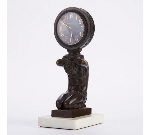 Revere AuctionsE.F. Caldwell & Co. Bronze and Marble Mantle Clock
