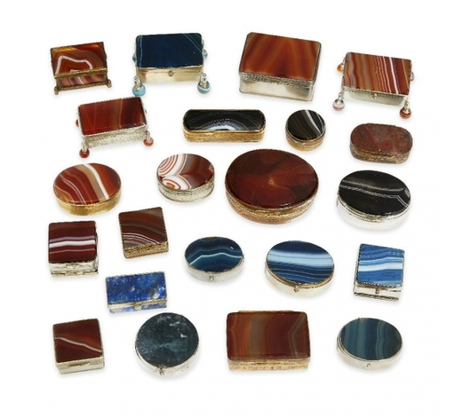 RoseberysA group of twenty-two gilt and silvered metal-mounted agate boxes
