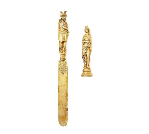 RoseberysA French silver-gilt paper knife and seal