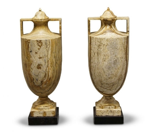 RoseberysA pair of alabastro fiorentino classical vases and covers