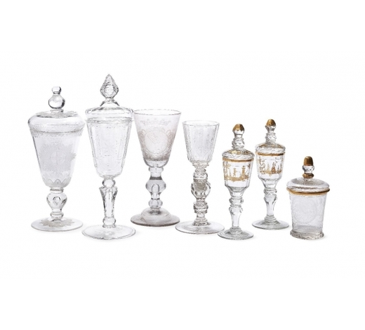 RoseberysA collection of seven German and Bohemian glasses