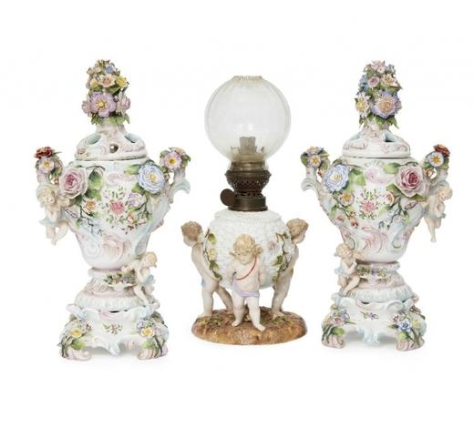 RoseberysA pair of Continental porcelain pot pourri vases