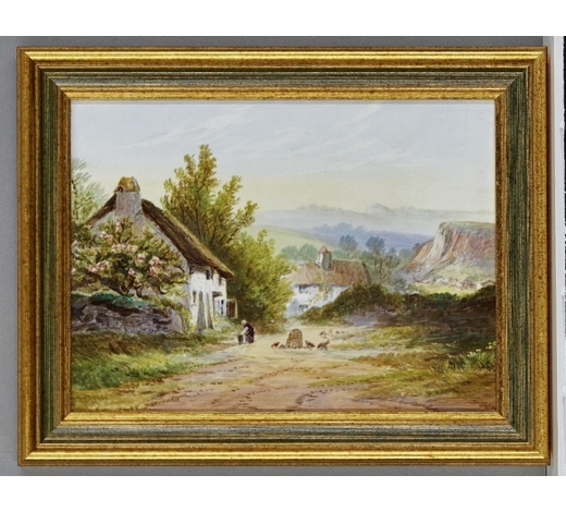 RoseberysAn English porcelain plaque decorated with a country view