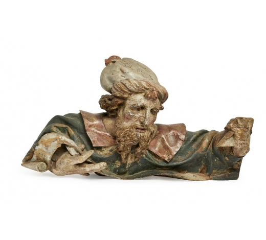 RoseberysA Continental carved and painted wood fragmentary figure of a man