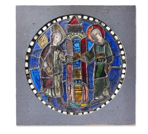 RoseberysA stained and leaded glass panel of Joachim and Anna at the Golden Gate