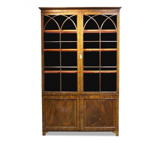 RoseberysA George III mahogany and crossbanded bookcase