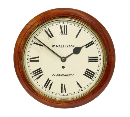 RoseberysA walnut circular wall clock by W. Wallison