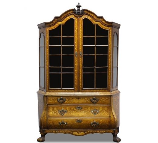RoseberysA Dutch walnut and floral marquetry display cabinet on chest