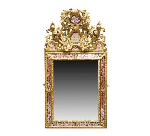 RoseberysA French Louis XIV style verre 間lomis?and carved giltwood mirror