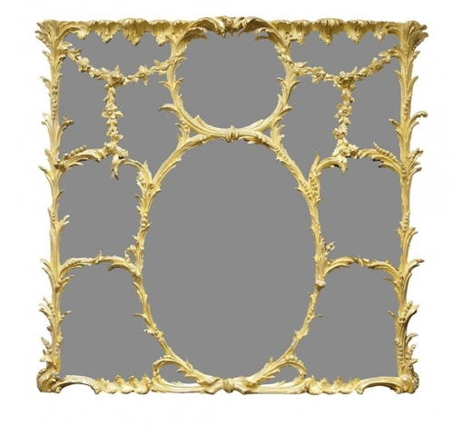 RoseberysA Rococo revival giltwood and gesso overmantle mirror