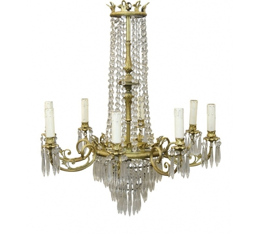 RoseberysA pair of eight light gilt metal and lustre hung chandeliers