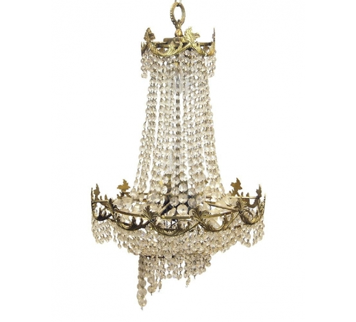 RoseberysAn eleven light gilt metal and lustre hung chandelier