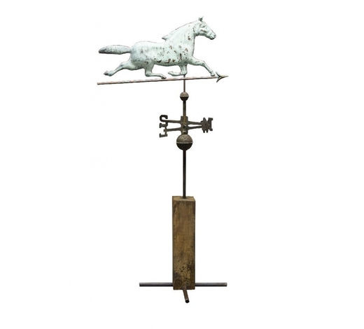 RoseberysA copper and sheet metal weathervane on stand