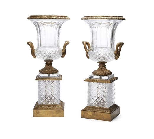 RoseberysA pair of French cut glass and bronze mounted campana urns