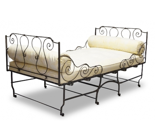 RoseberysA French cast iron folding campaign bed