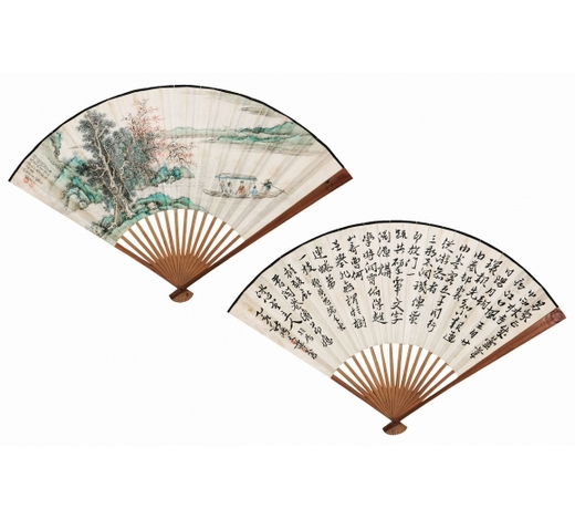 北京盈昌蔡彥才(1892-?) 蒋鸿文(1598-1663) 清溪行舟图。书法