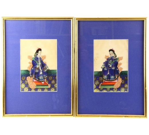Venduehuis der NotarissenFour pairs of Chinese paintings on rice paper