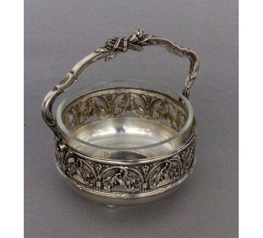 Sigalas AuktionshausA HANDLED BOWL Silver-plated metal with glass
