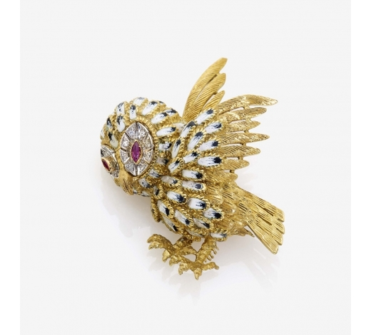 Neumeister Munchener KunstauktionshausBROOCH IN THE FORM OF AN OWL