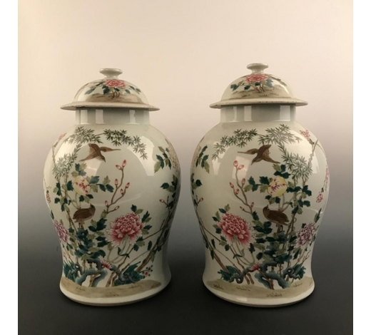 JJ Auction IncPair Chinese Famille Rose  Peony  Vase and Cover, Qianlong Mark