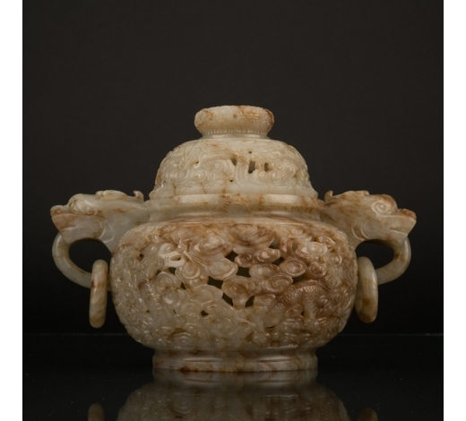 Lauren GalleryQING MUTTONFAT JADE CENSER WITH COVER