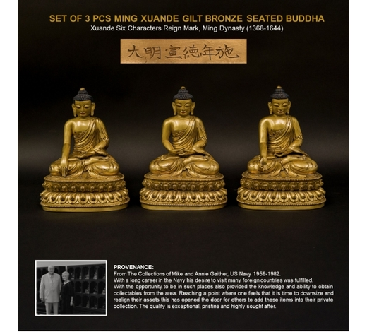Lauren GallerySET OF 3 PCS MING XUANDE GILT BRONZE SEATED BUDDHA