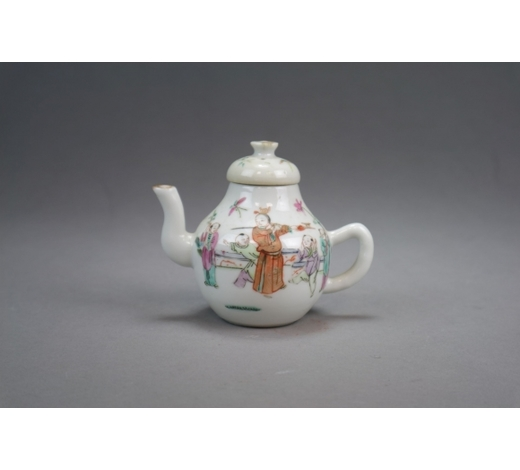 HallsA Chinese famille rose teapot or wine pot and cover Republic period