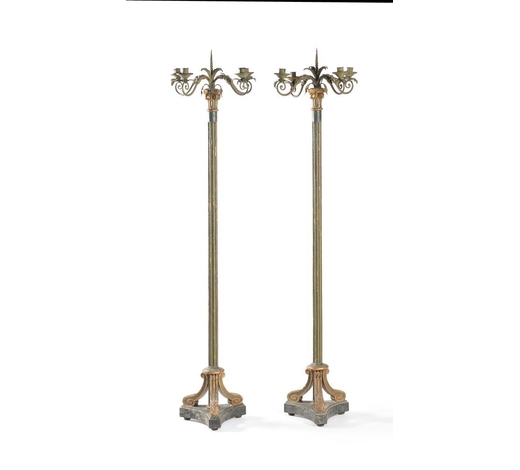DreweattsA pair of Regency painted and parcel gilt torcheres