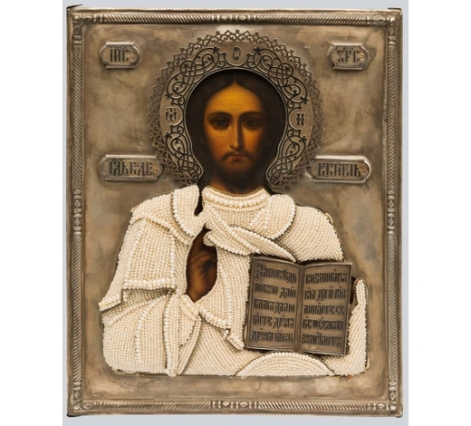 Arman AntiquesAn Icon of Christ Pantocrator with Niello Silver and Basma Oklad.