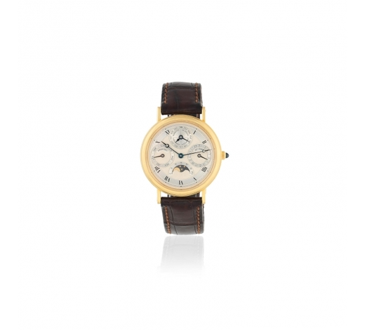 Bonhams England【Y】Breguet. A fine 18K gold automatic perpetual calendar wristwatch with moon phase