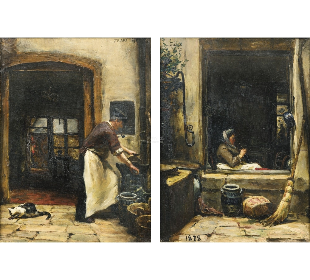 emilefriant_wife knitting and the butcher with his pipe and cat emile friant