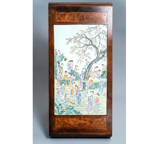 Rob Michiels AuctionsA large Chinese famille rose plaque inset in a wooden table, Republic, 20th C.