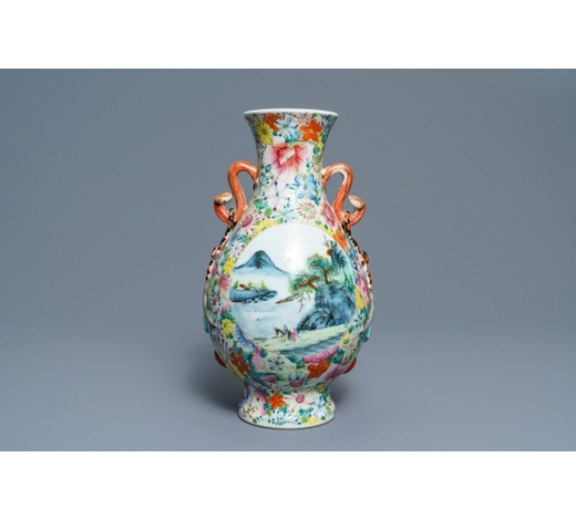 Rob Michiels AuctionsA Chinese famille rose 'millefleurs' landscape vase, Qianlong mark, Republic, 20th C.