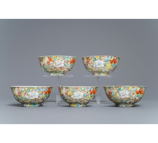 Rob Michiels AuctionsFive Chinese famille rose 'millefleurs' bowls, Qianlong mark, Republic, 20th C.