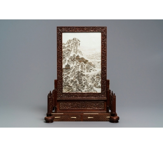Rob Michiels AuctionsA fine Chinese grisaille 'winter landscape' plaque in a wooden table screen, Republic, 20th C.