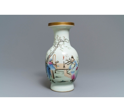 Rob Michiels AuctionsA Chinese famille rose vase with figures in a garden, Qianlong mark, Republic, 20th C.