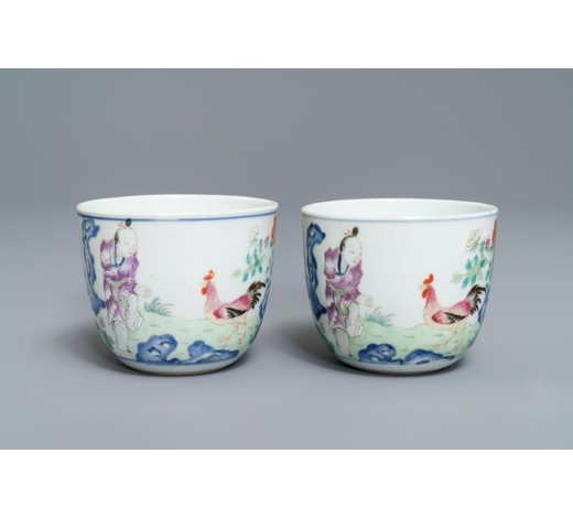 Rob Michiels AuctionsA pair of Chinese famille rose 'chicken' cups, Qianlong mark, late Qing or Republic