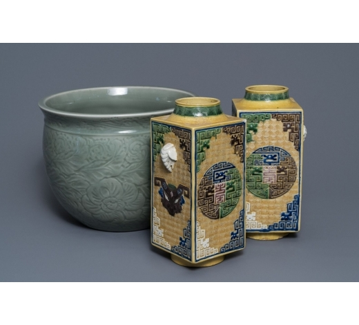 Rob Michiels AuctionsA Chinese celadon jardinière and a pair of relief-decorated cong vases, 19/20th C.