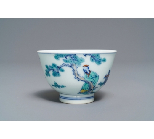 Rob Michiels AuctionsA Chinese doucai bowl with figures in a landscape, Kangxi mark, 19/20th C.