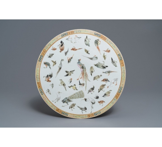 Rob Michiels AuctionsA round Chinese famille rose 'birds' plaque, 19th C.