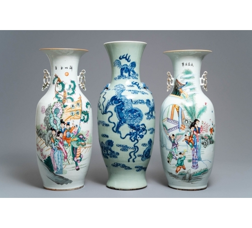 Rob Michiels AuctionsTwo Chinese famille rose vases and a blue and white celadon vase, 19/20th C.