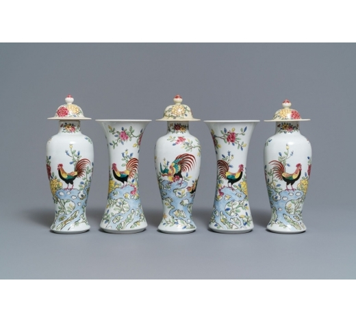 Rob Michiels AuctionsA famille rose-style five-piece garniture with roosters and chickens, Samson, Paris, 19th C.