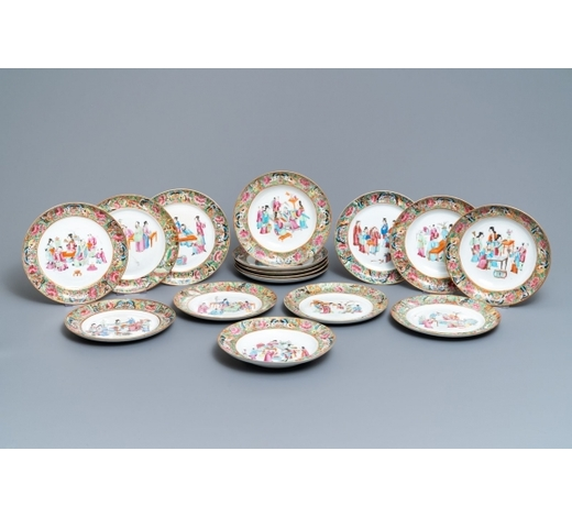 Rob Michiels AuctionsA 16-piece Chinese Canton famille rose service, 19th C.
