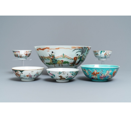 Rob Michiels AuctionsSix various Chinese famille rose and verte bowls, 19/20th C.