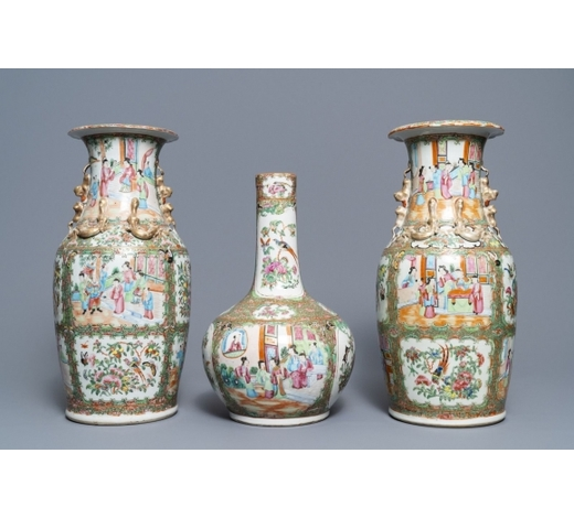 Rob Michiels AuctionsThree Chinese Canton famille rose vases, 19th C.