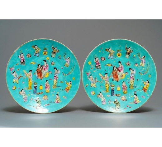 Rob Michiels AuctionsA pair of Chinese famille rose turquoise-ground dishes, Jiaqing mark, 20th C.