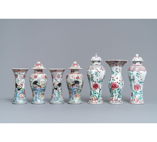 Rob Michiels AuctionsTwo Chinese famille rose vase garnitures, Qianlong and 19th C.