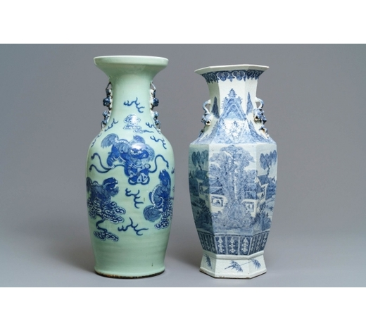 Rob Michiels AuctionsTwo Chinese blue and white and celadon-ground vases, 19th C.