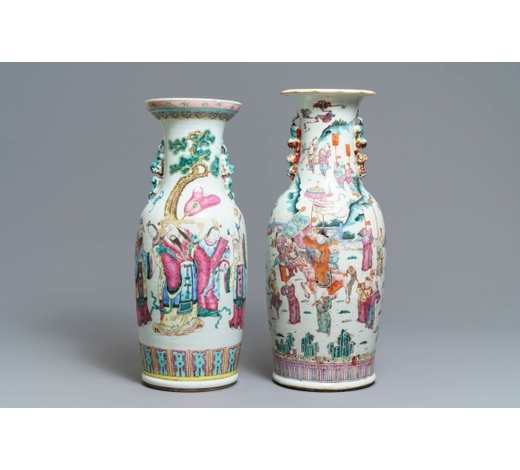 Rob Michiels AuctionsTwo Chinese famille rose vases with large figures, 19th C.