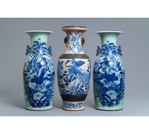 Rob Michiels AuctionsA pair of Chinese blue and white celadon-ground vases and a Nanking crackle-glazed vase, 19th C.